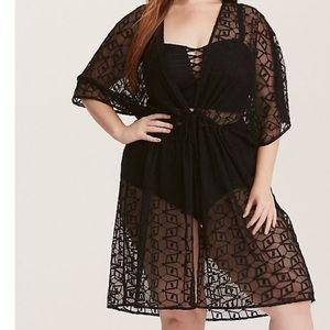 BLACK EMBROIDERED MESH TIE FRONT SWIM COVER-UP